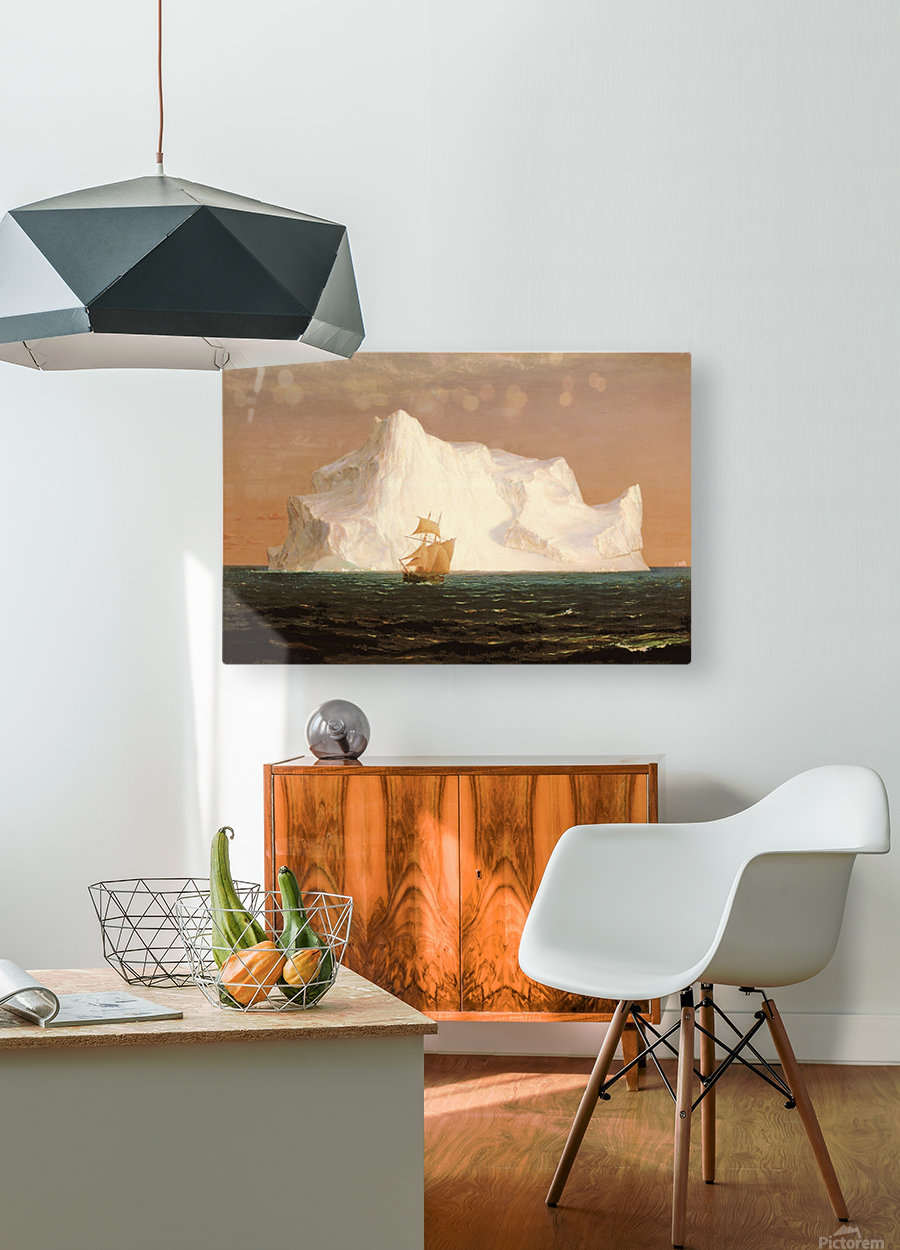 A boat sailling to an iceberg  HD Metal print with Floating Frame on Back