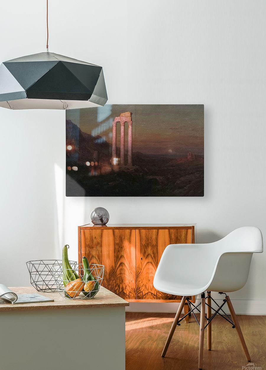 Moonrise Over Greece  HD Metal print with Floating Frame on Back