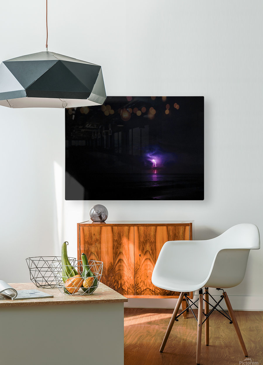 Lightning up the Sea  HD Metal print with Floating Frame on Back
