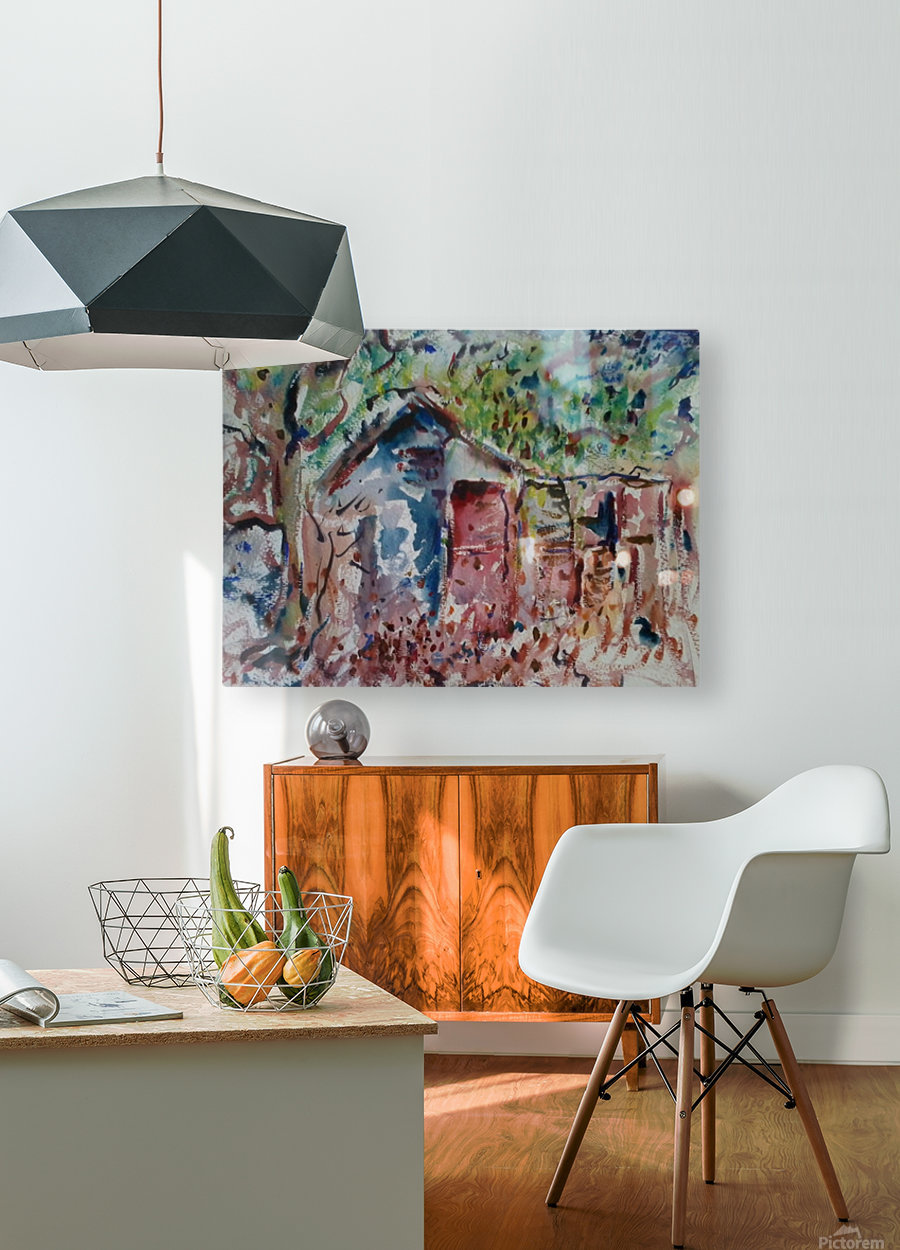 The Hut  HD Metal print with Floating Frame on Back