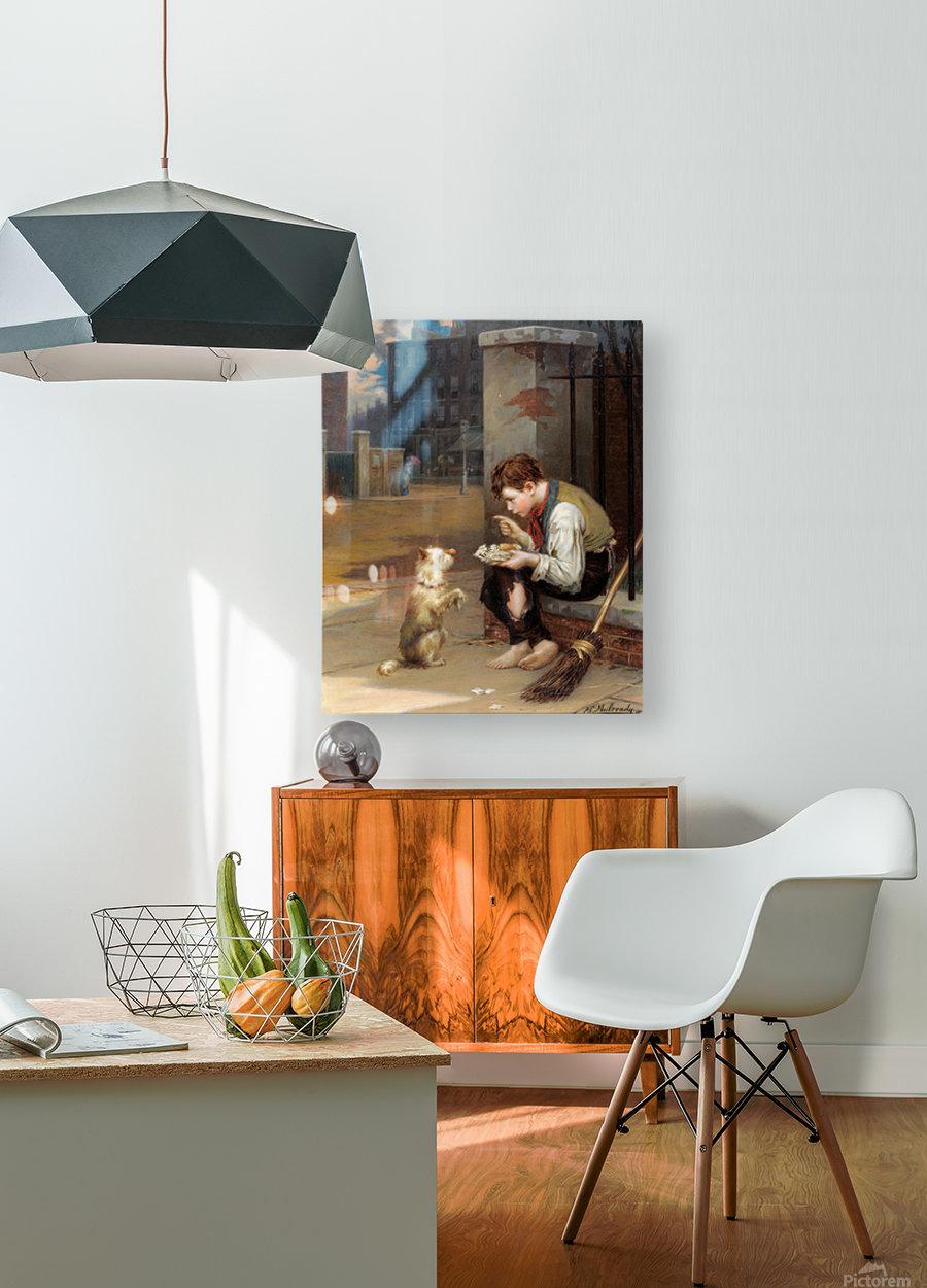 Training a small dog  Impression métal HD avec cadre flottant sur le dos
