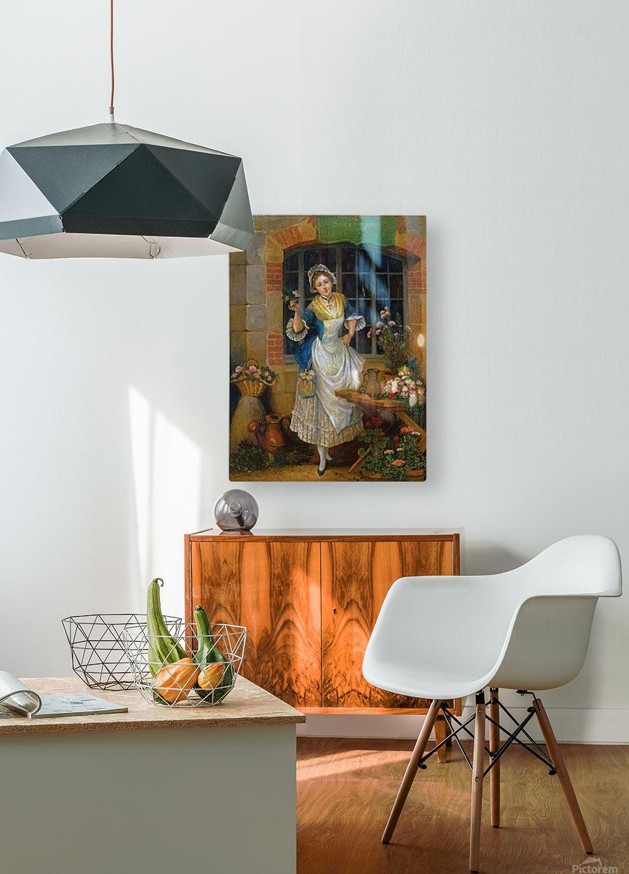 A young florist  Impression métal HD avec cadre flottant sur le dos