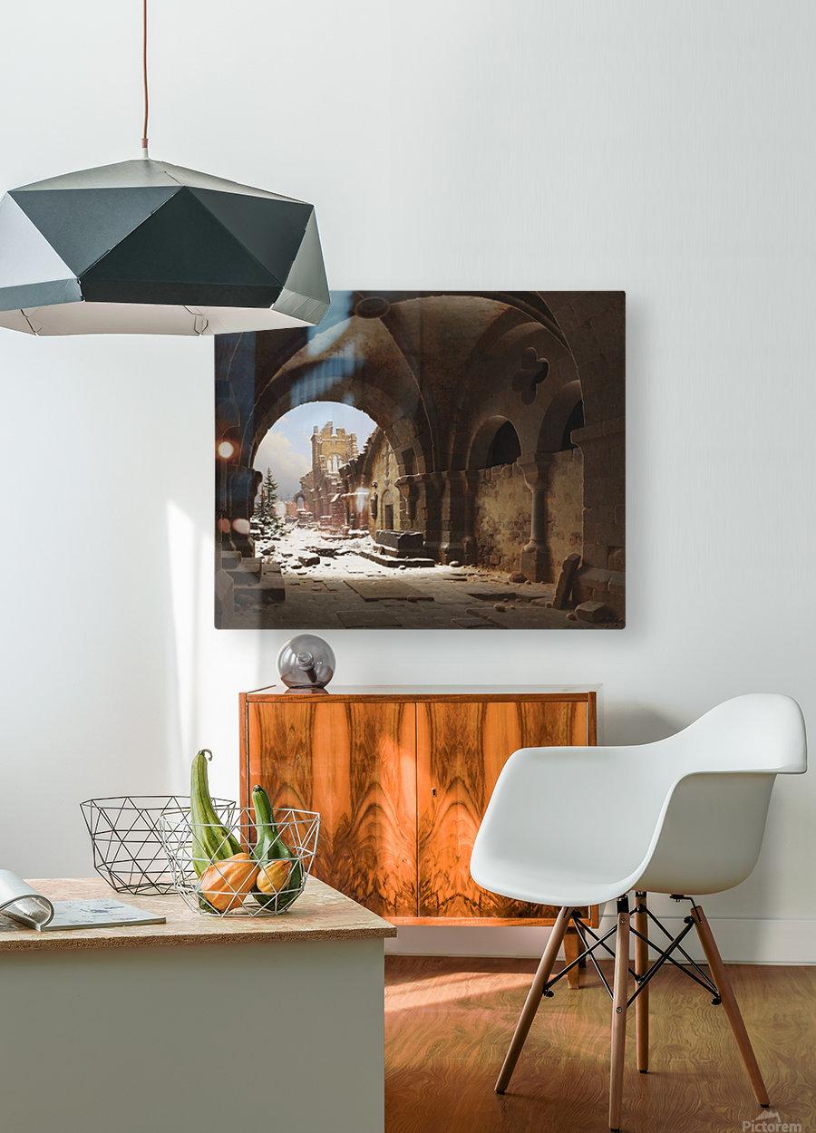 Blick auf die Kirchenruine im Winter  HD Metal print with Floating Frame on Back