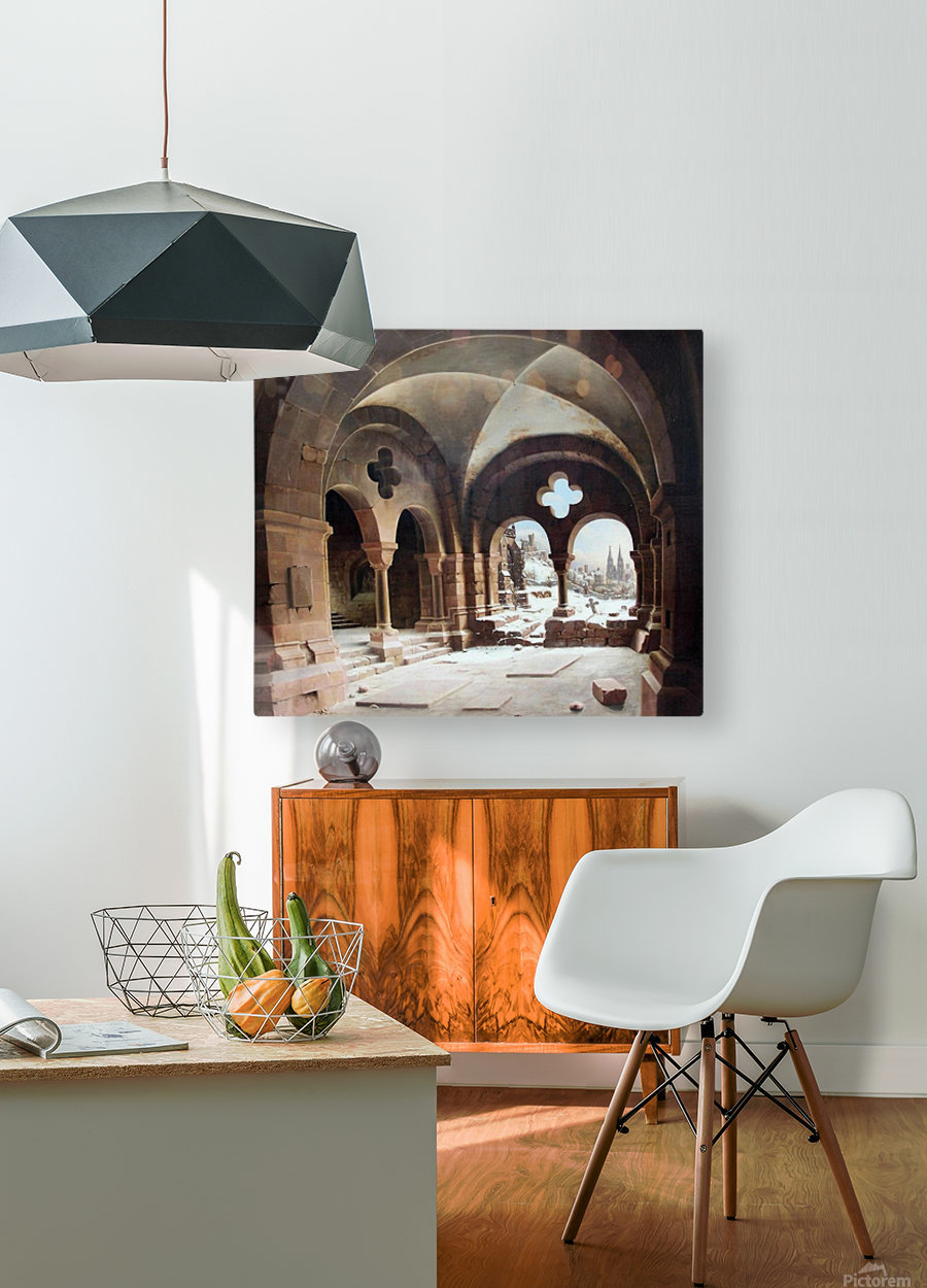 Abbey Cloister in Winter  HD Metal print with Floating Frame on Back