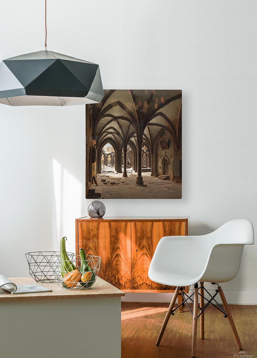 Die Ruine des Klosters Walkenried im Winter  HD Metal print with Floating Frame on Back