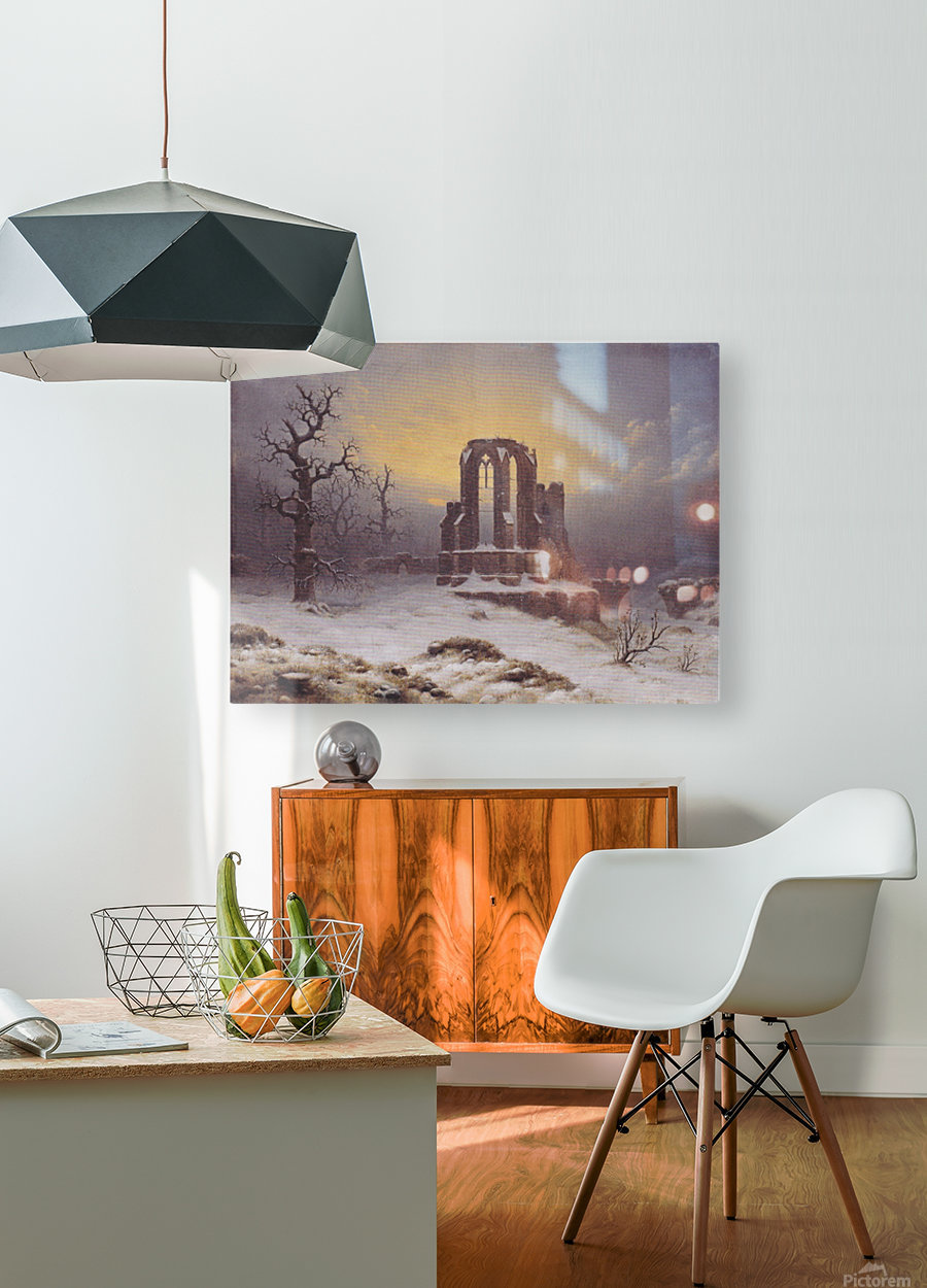 Church Ruine in the Snow  HD Metal print with Floating Frame on Back