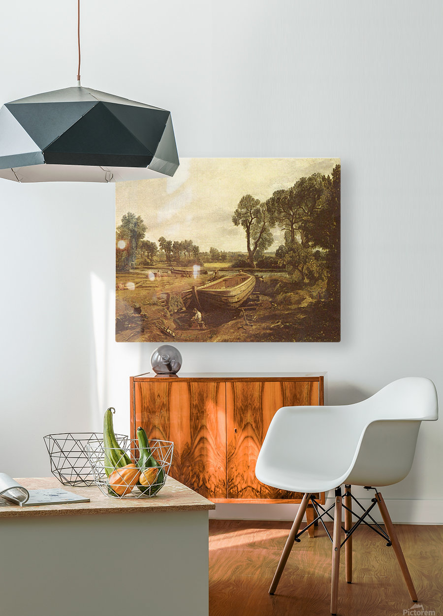 Landscape with a boat and a tree  HD Metal print with Floating Frame on Back