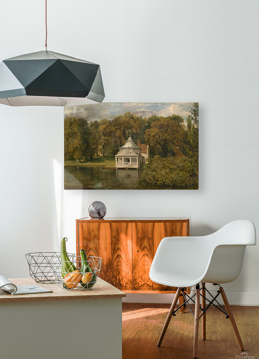 A small white cottage by the river  HD Metal print with Floating Frame on Back