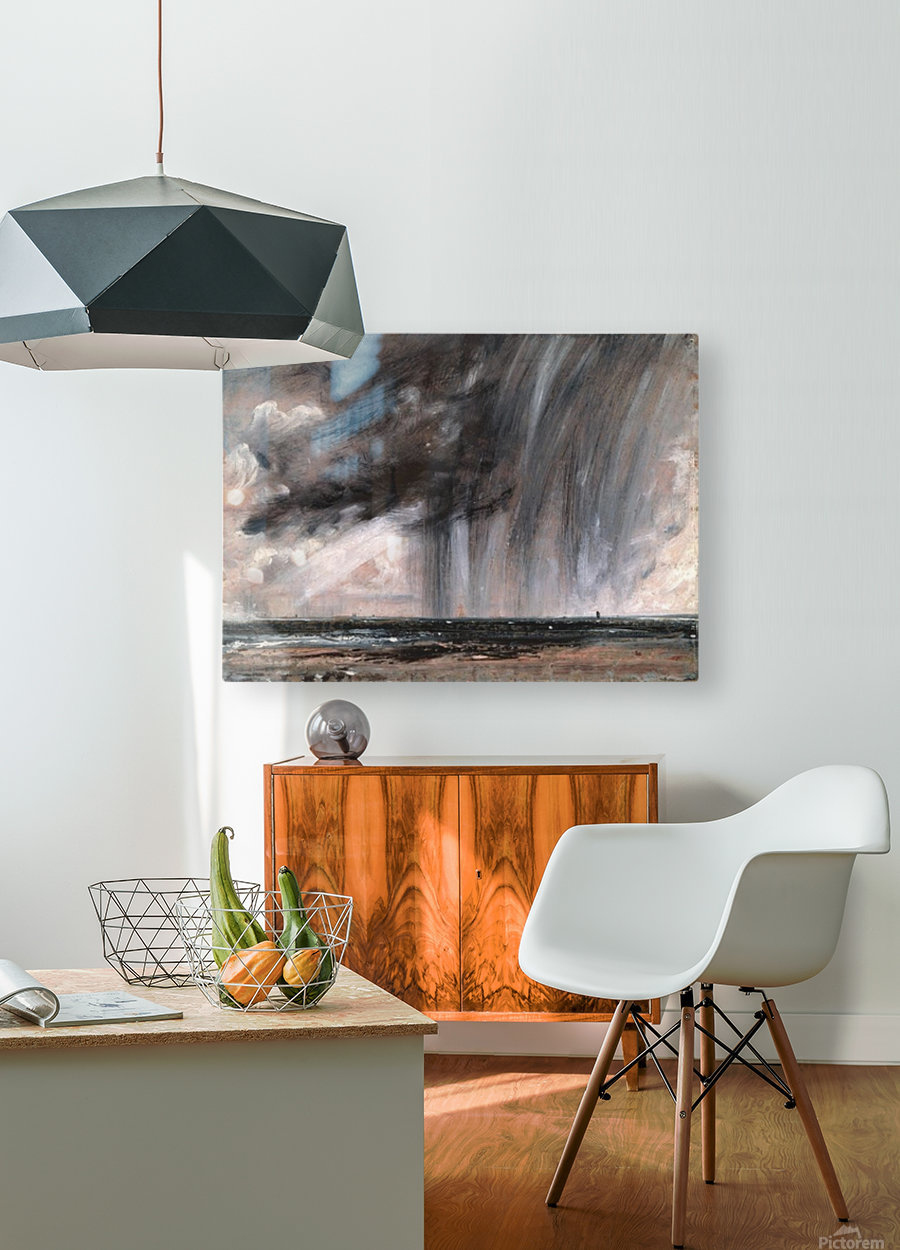 Rainstorm over the sea  HD Metal print with Floating Frame on Back