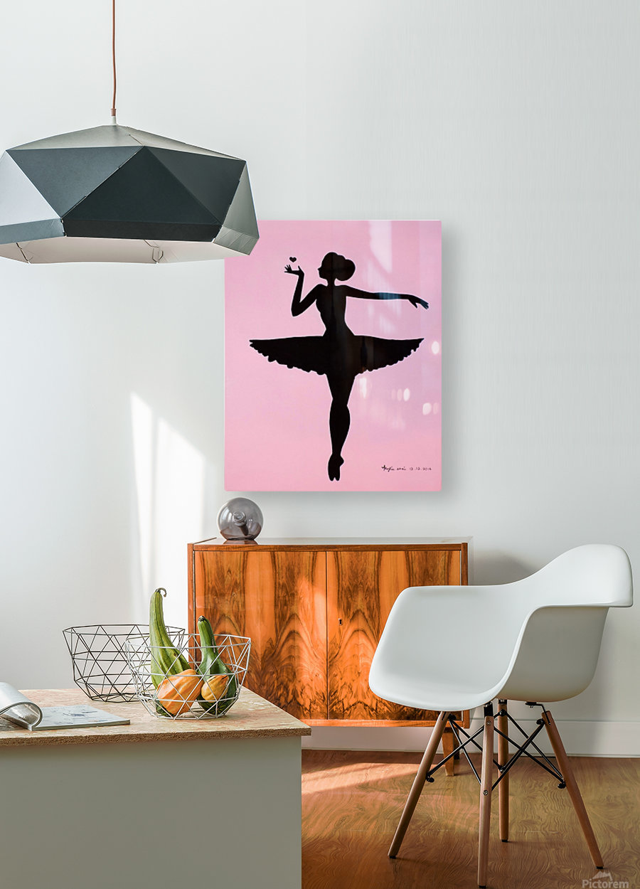 Ballerina Sillhouette (Pink  HD Metal print with Floating Frame on Back
