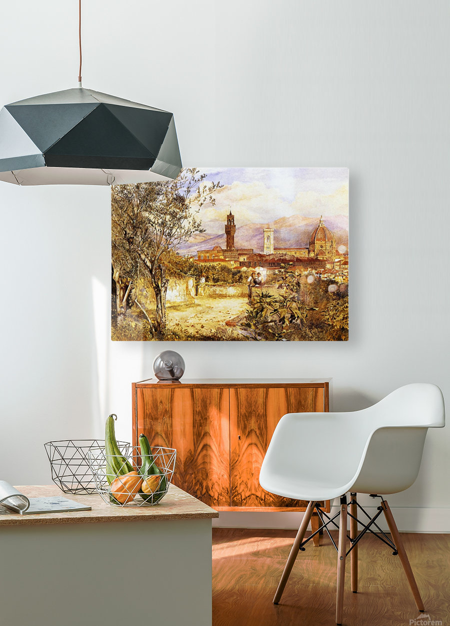 View of the Duomo fro the Mozzi Garden Florence 1877  HD Metal print with Floating Frame on Back