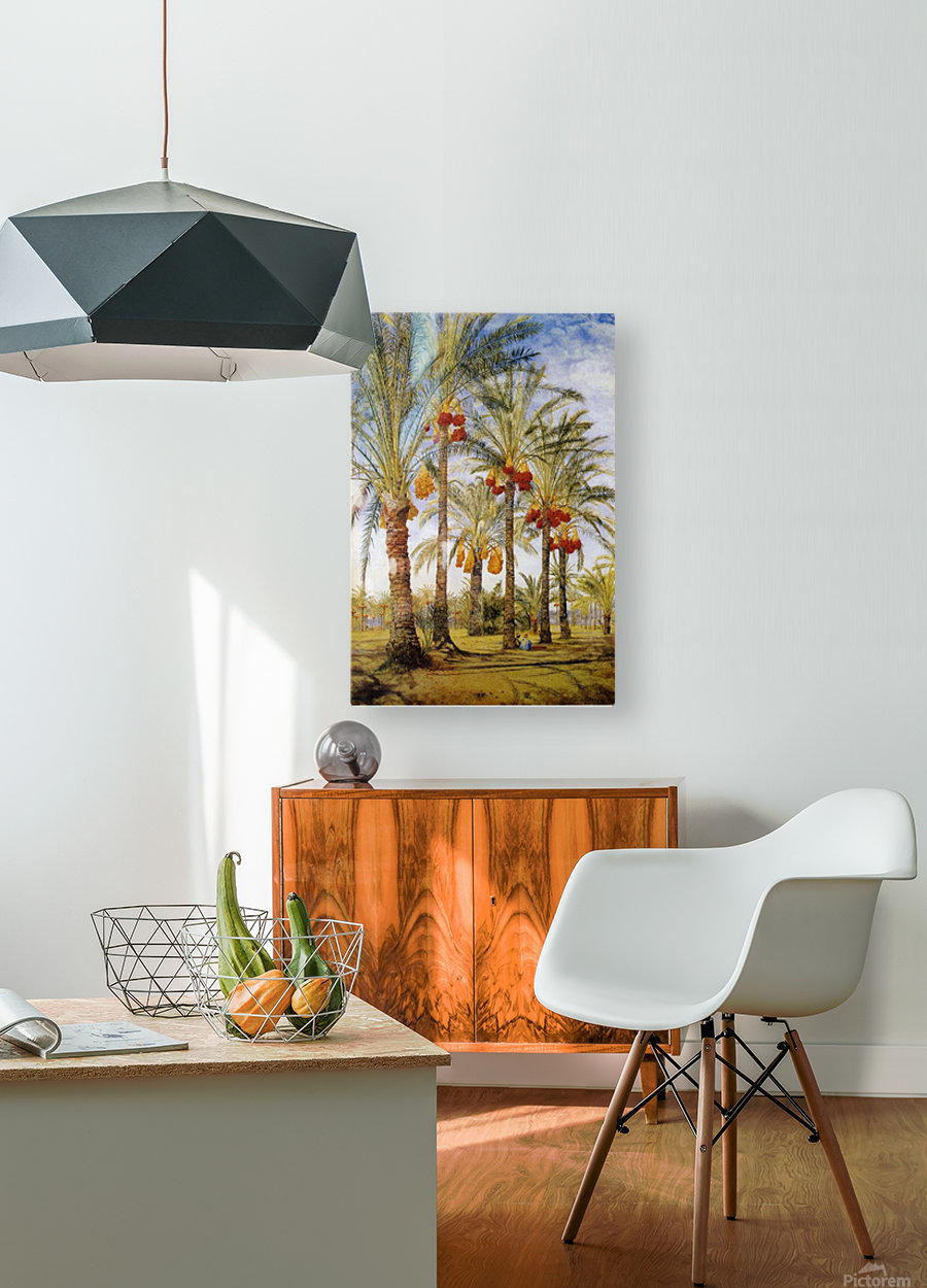 A street with dates trees  HD Metal print with Floating Frame on Back