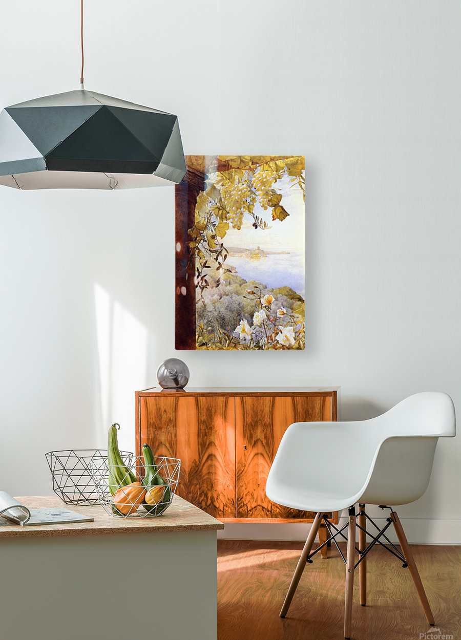Grapes and flowers by the sea  HD Metal print with Floating Frame on Back