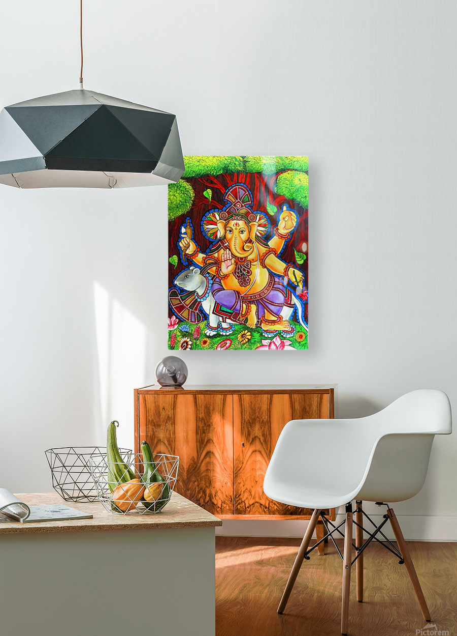 GANAPATHY MURAL  HD Metal print with Floating Frame on Back