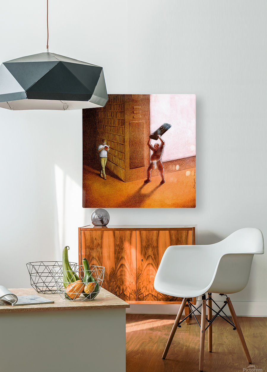 TV and Books  HD Metal print with Floating Frame on Back