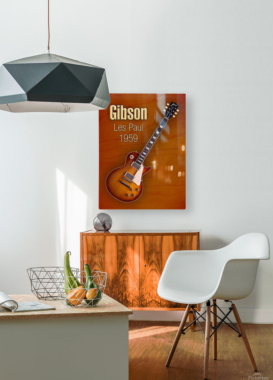 Vintage Gibson Les paul 1959  HD Metal print with Floating Frame on Back