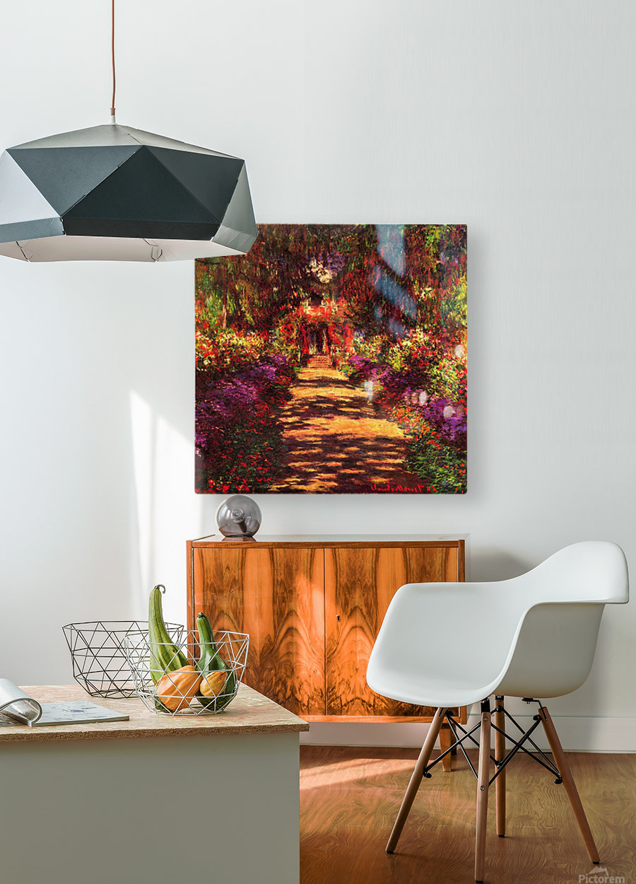 Path in Monets garden in Giverny by Monet  HD Metal print with Floating Frame on Back