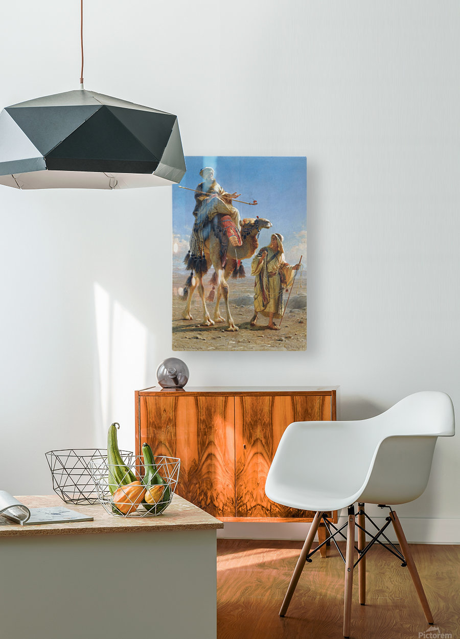 Riding the camel  HD Metal print with Floating Frame on Back