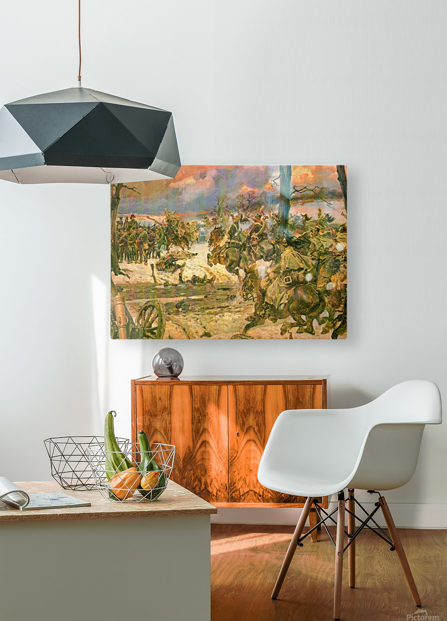 A battle scene  HD Metal print with Floating Frame on Back