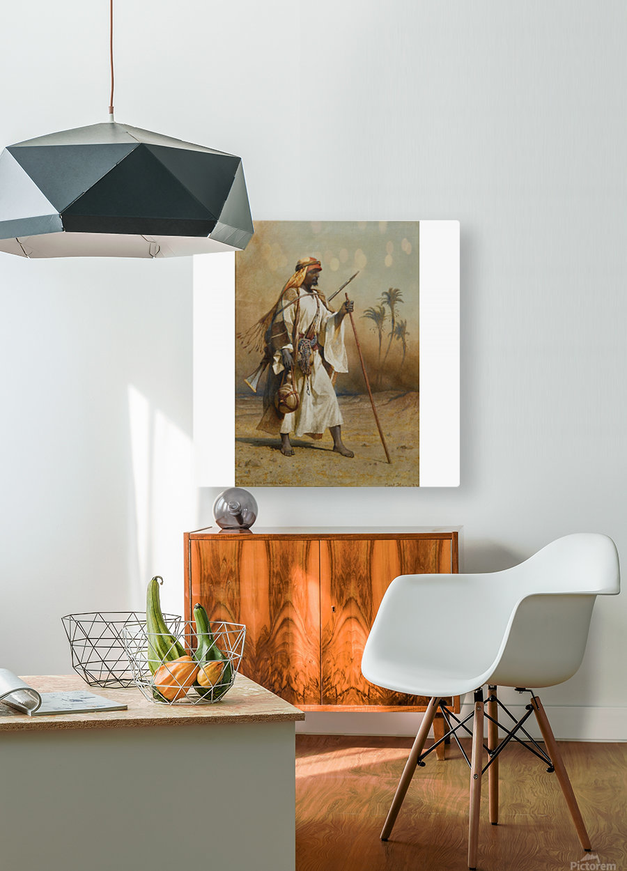 A warrior scouring the land  HD Metal print with Floating Frame on Back