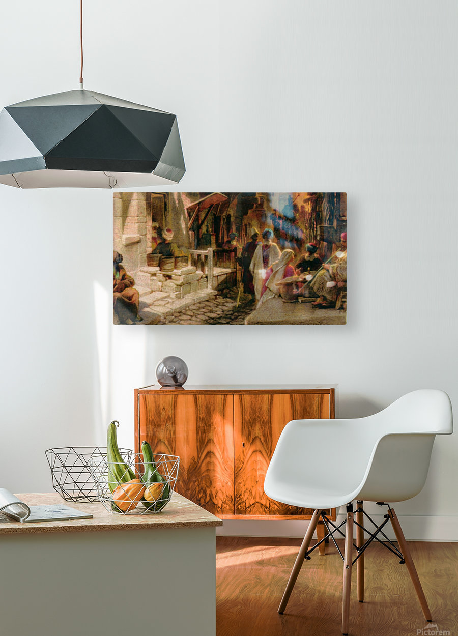 The Bazaar near Damascus  HD Metal print with Floating Frame on Back