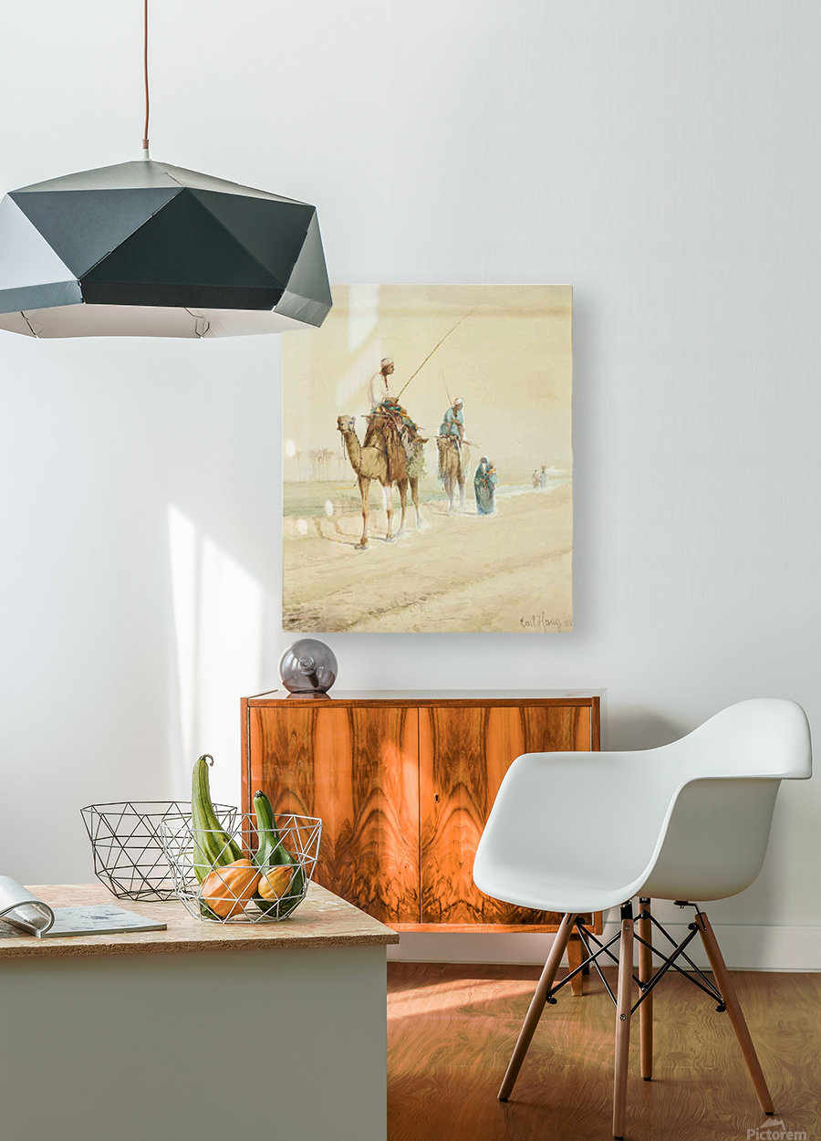 Arab travellers on an egyptian road  HD Metal print with Floating Frame on Back