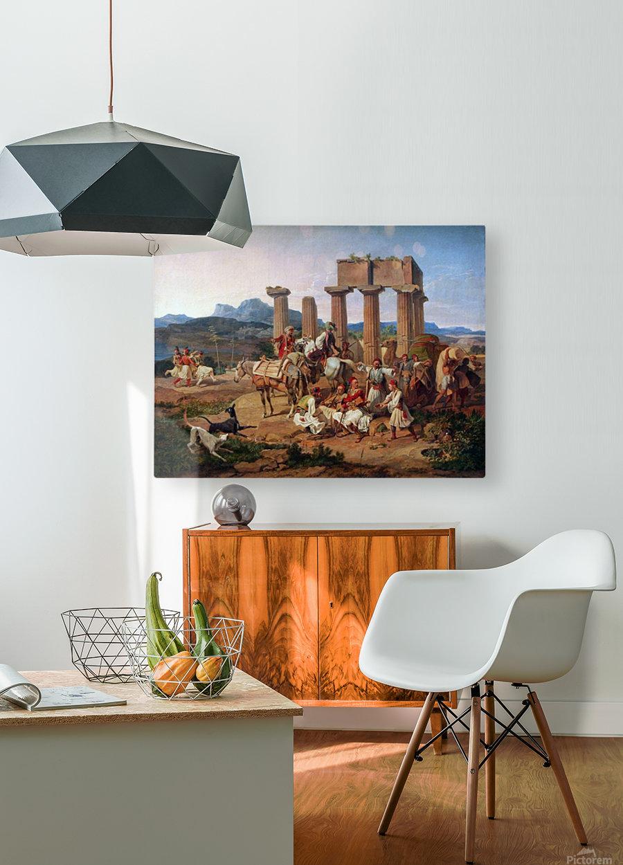 A caravan resting  HD Metal print with Floating Frame on Back