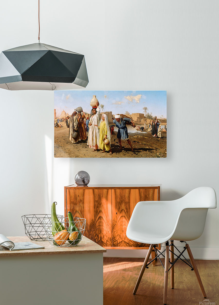 People outside a city  HD Metal print with Floating Frame on Back