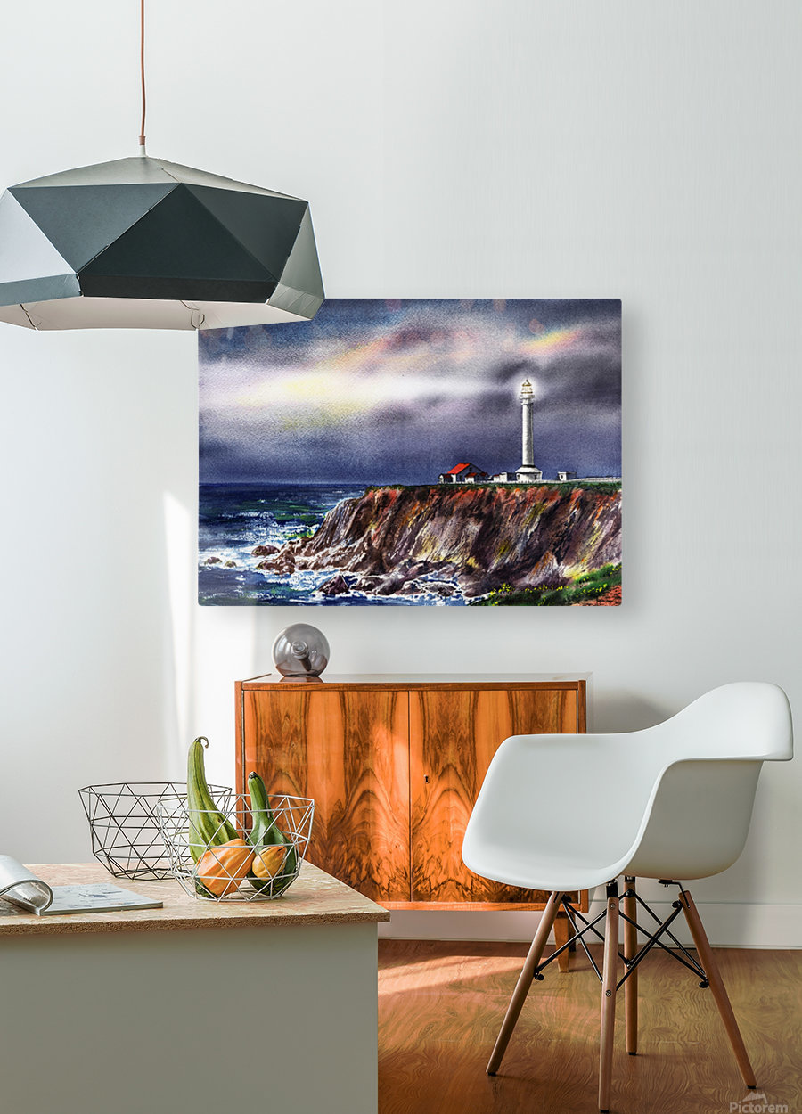 Lighthouse Point Arena At Night  HD Metal print with Floating Frame on Back
