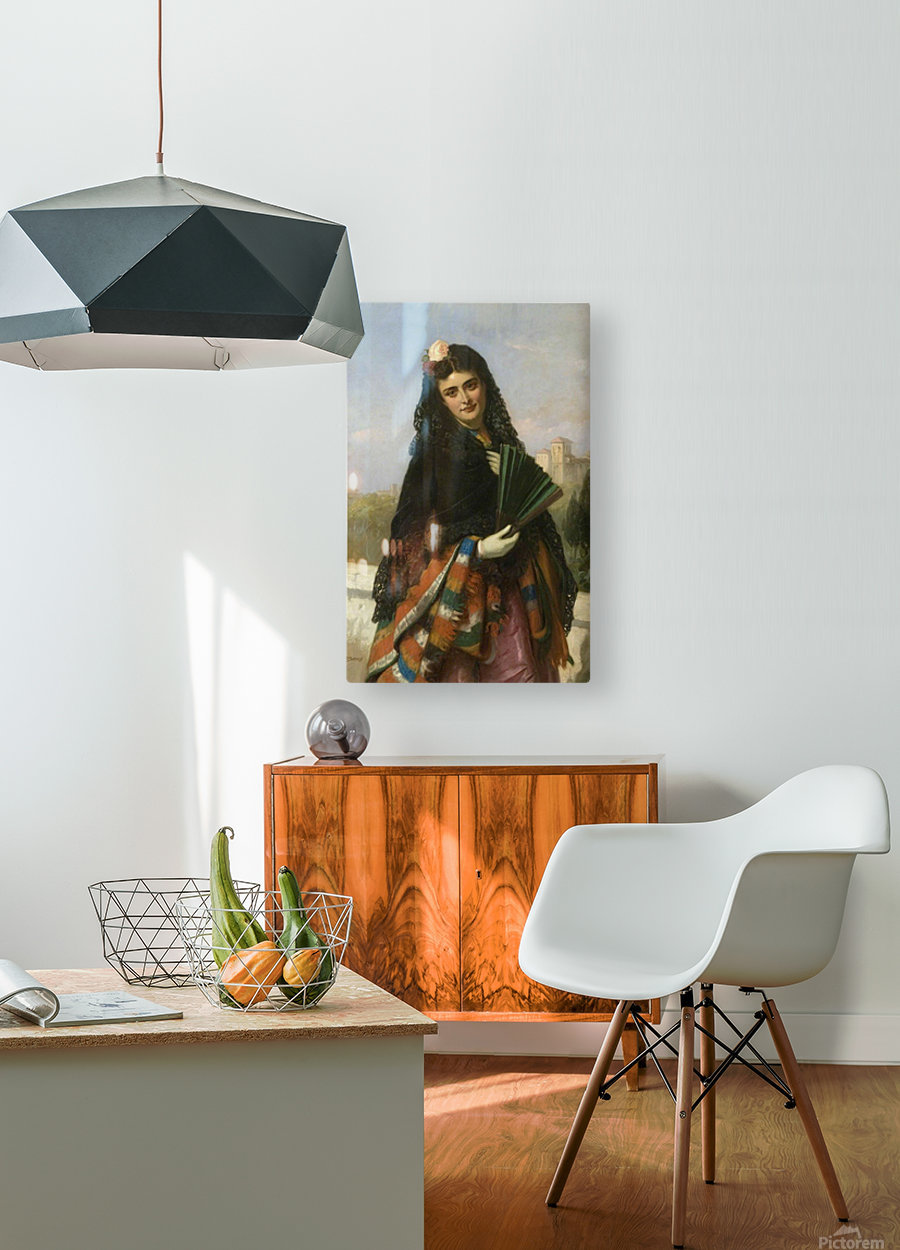 Spanish lady with a fan  HD Metal print with Floating Frame on Back