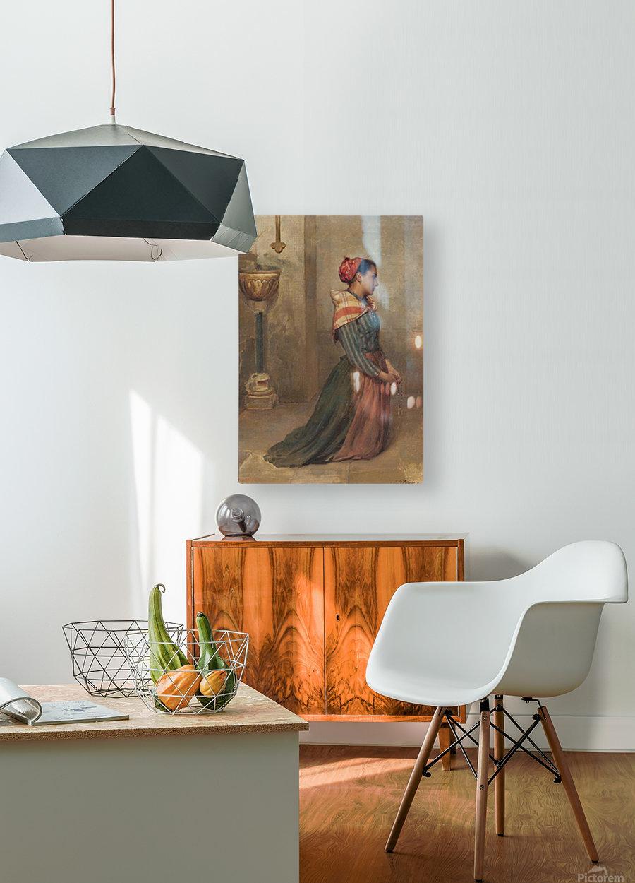 Kneeling to prayer  HD Metal print with Floating Frame on Back