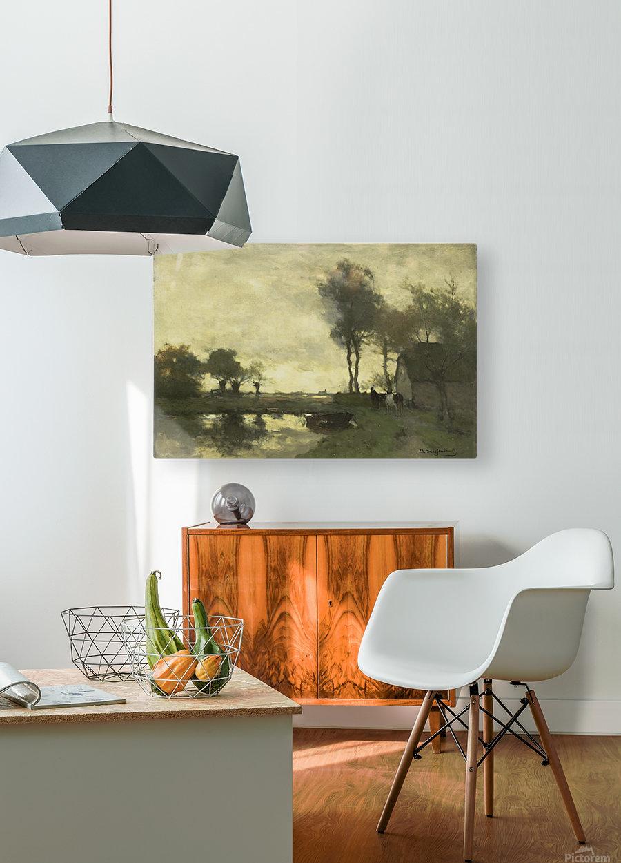 Landschap met boerderij bij een plas  HD Metal print with Floating Frame on Back