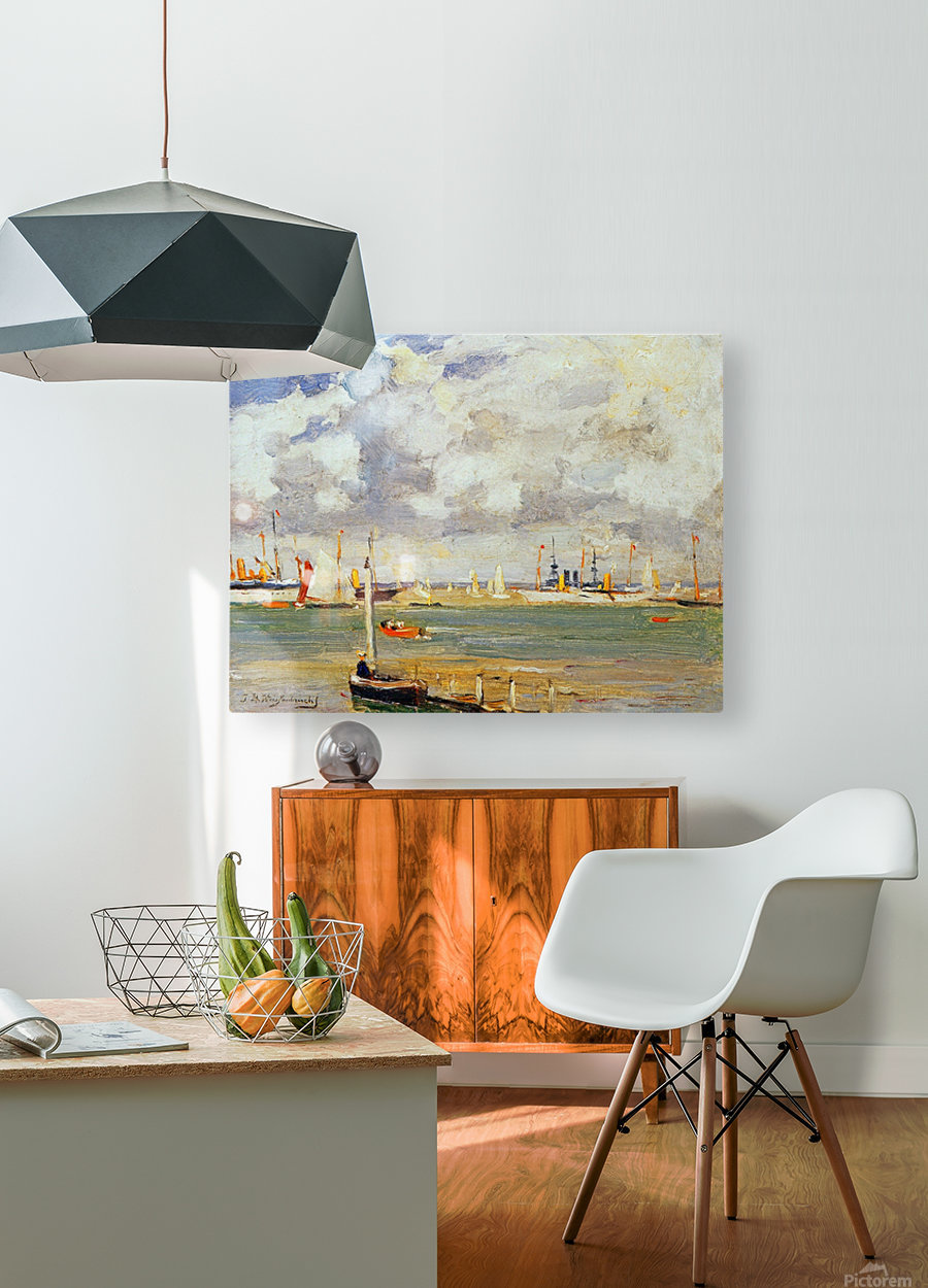 Ships in the harbour  HD Metal print with Floating Frame on Back