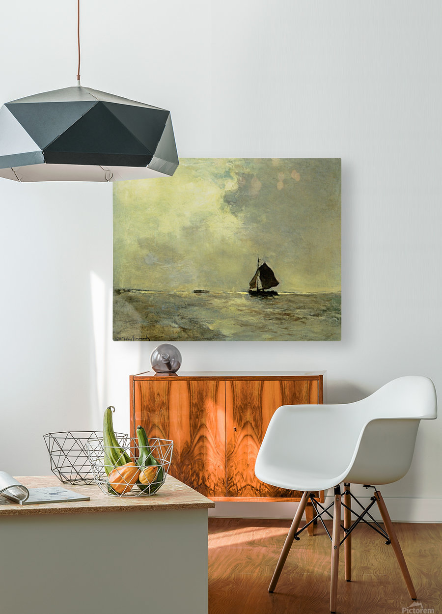 Sailing boat in choppy seas  HD Metal print with Floating Frame on Back