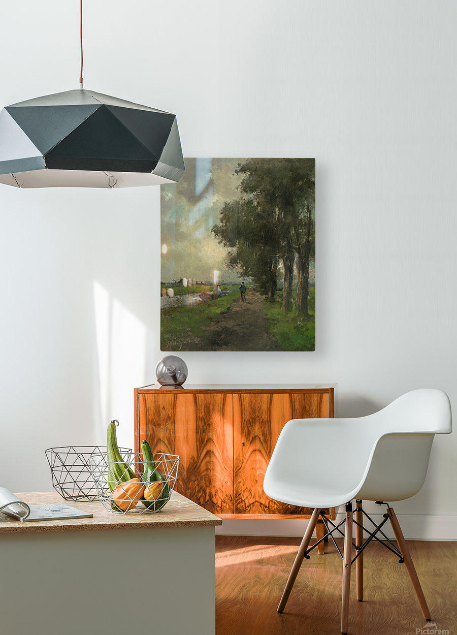 Farmers conversing on a towpath near Noorden  HD Metal print with Floating Frame on Back