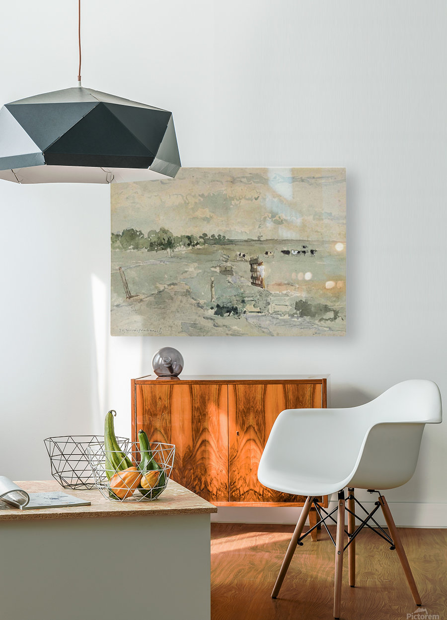 Landscape with cows and trees  HD Metal print with Floating Frame on Back