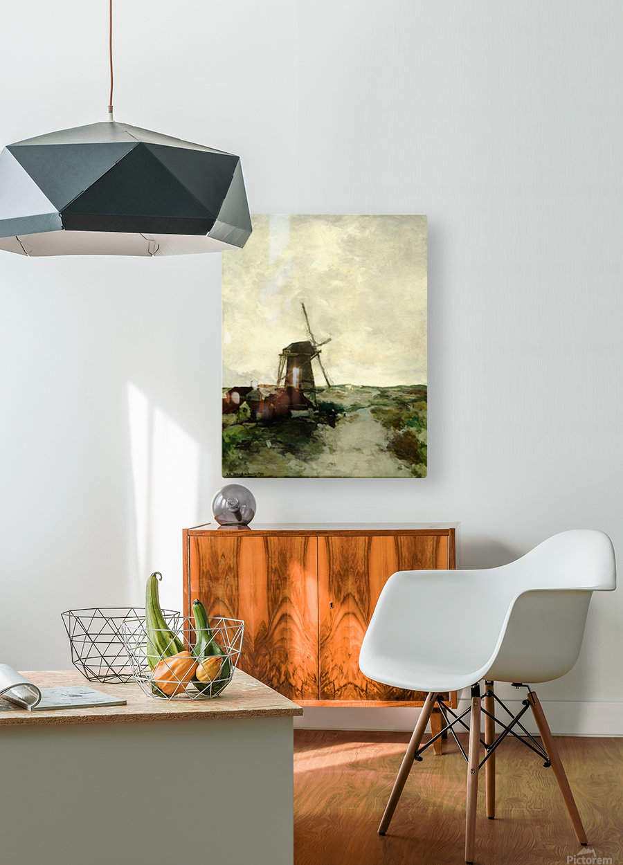 Landscape with houses and a mill  HD Metal print with Floating Frame on Back