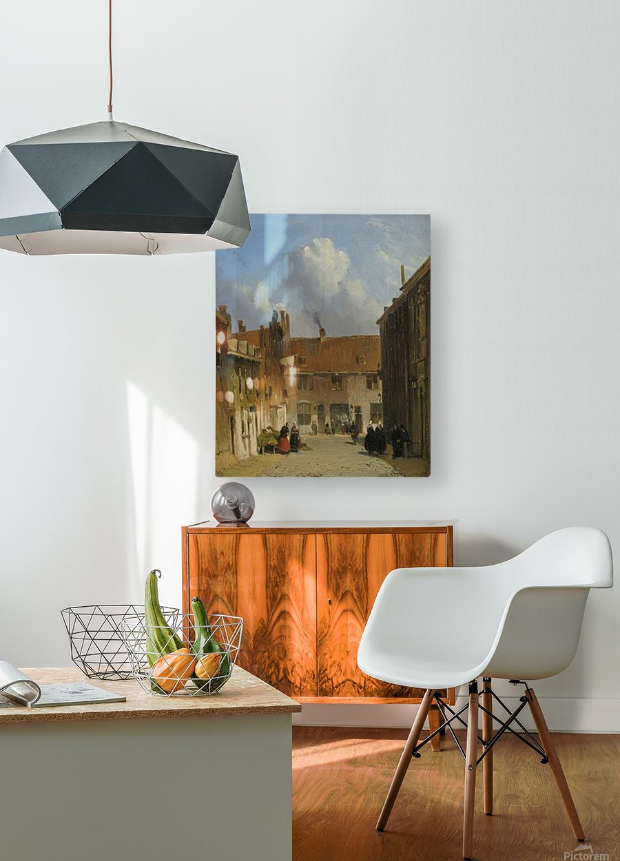Cityscape with many figures  HD Metal print with Floating Frame on Back