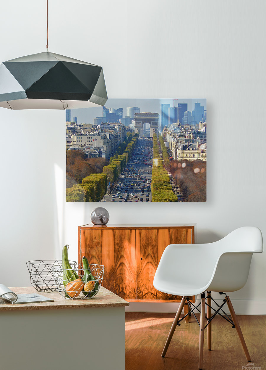 Arc d'Triompe up the Champs Elysees  HD Metal print with Floating Frame on Back