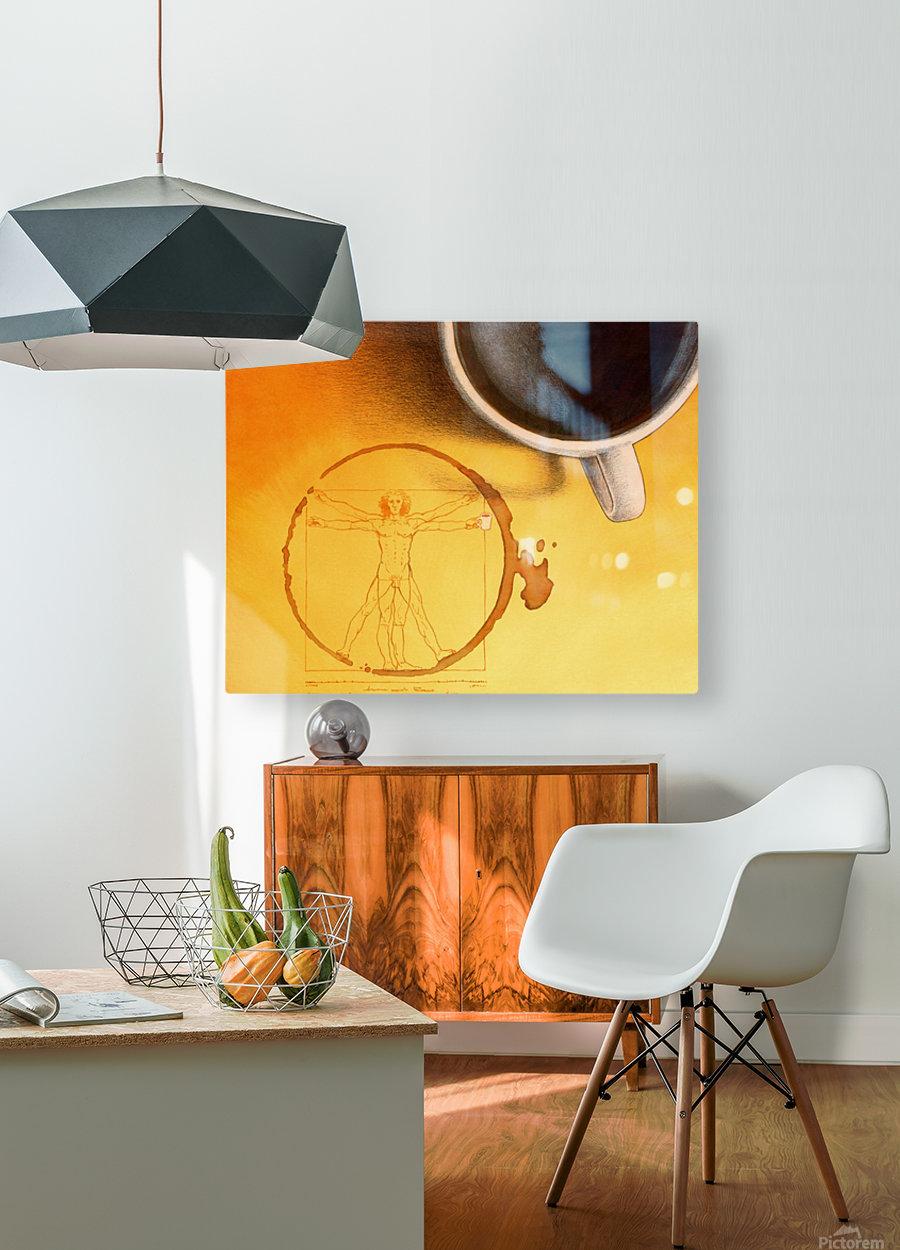 coffee man  Impression métal HD avec cadre flottant sur le dos