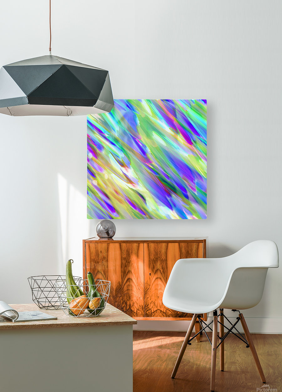 Colorful digital art splashing G401  HD Metal print with Floating Frame on Back