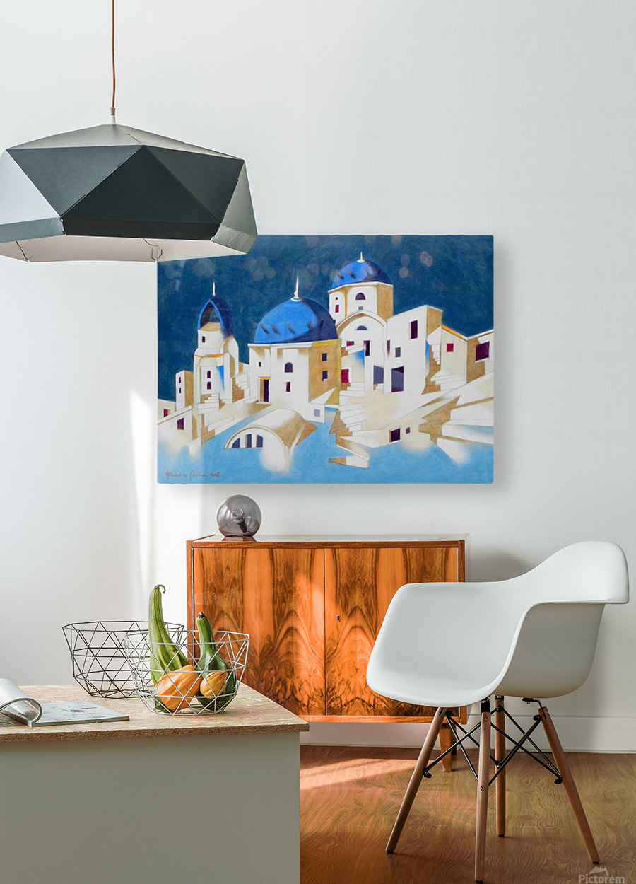 Memory of Santorini  HD Metal print with Floating Frame on Back