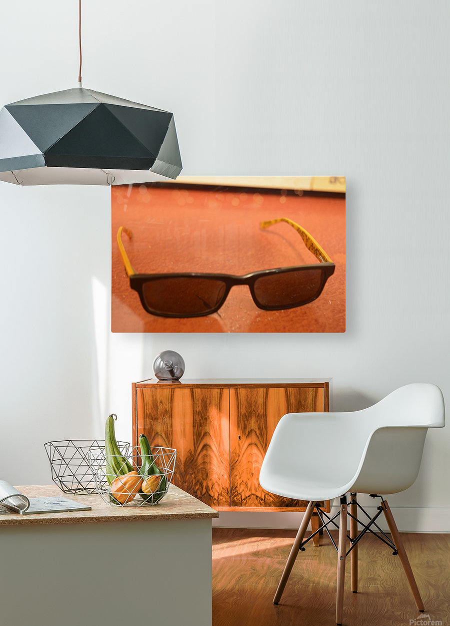 Sun glasses  HD Metal print with Floating Frame on Back