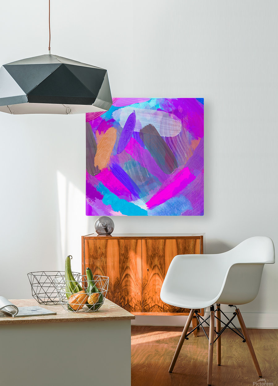 pink brown purple blue painting abstract background  HD Metal print with Floating Frame on Back