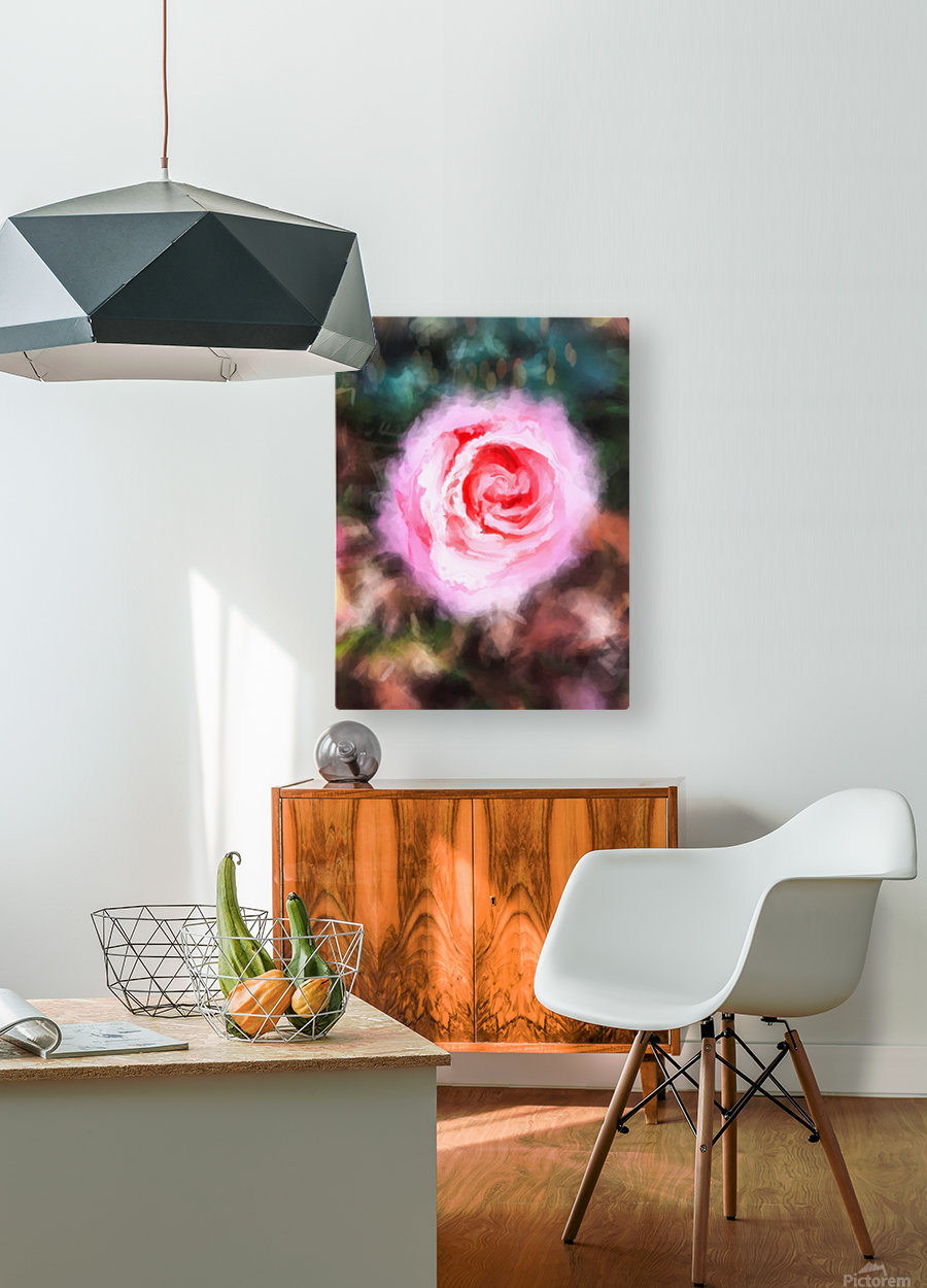 pink rose with green and brown background  HD Metal print with Floating Frame on Back