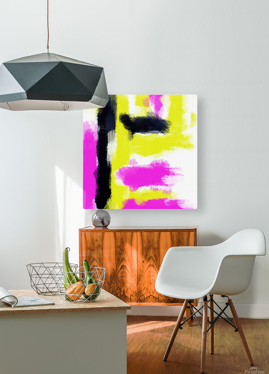 pink yellow and black painting abstract with white background  HD Metal print with Floating Frame on Back
