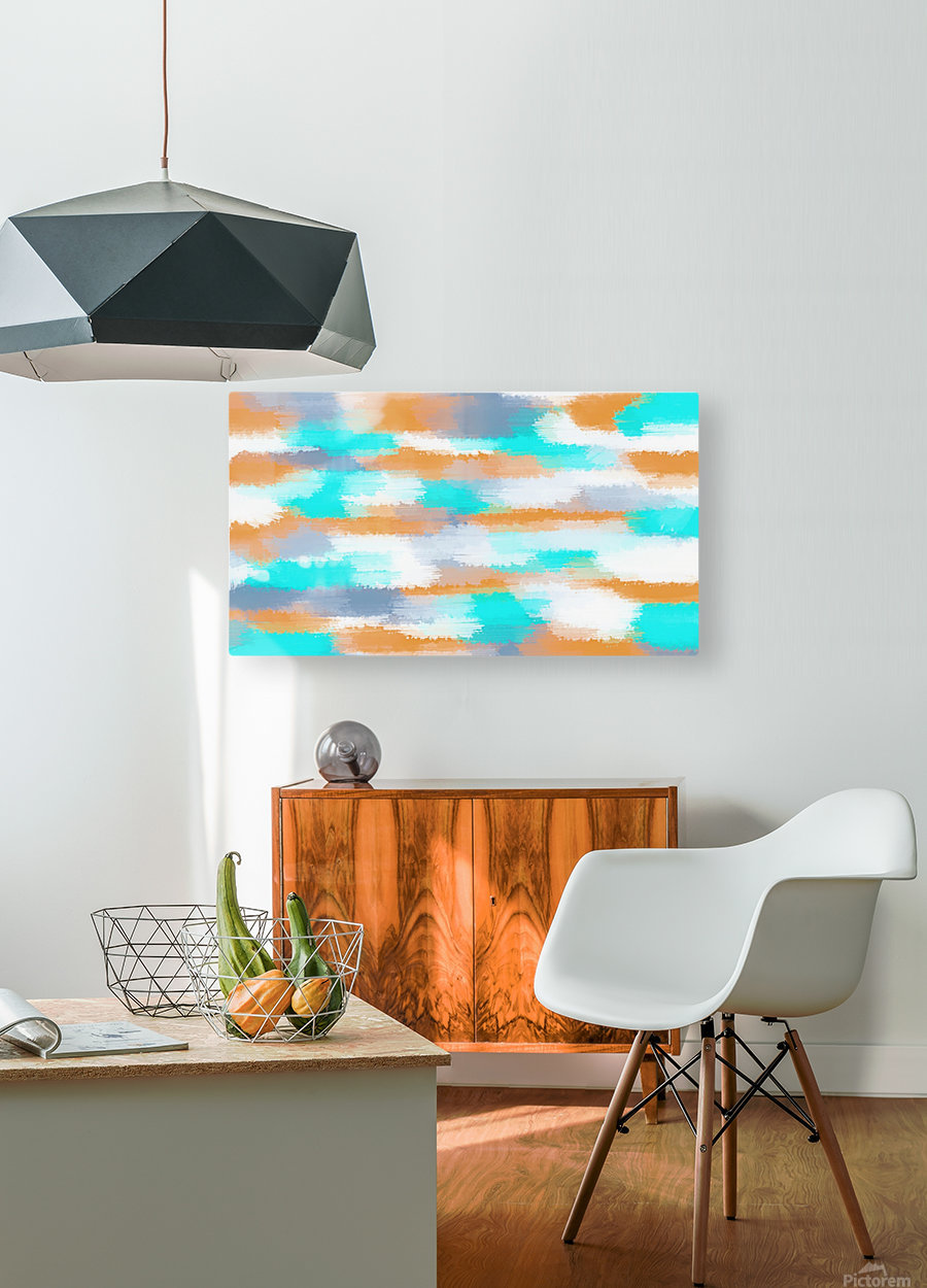orange and blue painting abstract with white background  HD Metal print with Floating Frame on Back