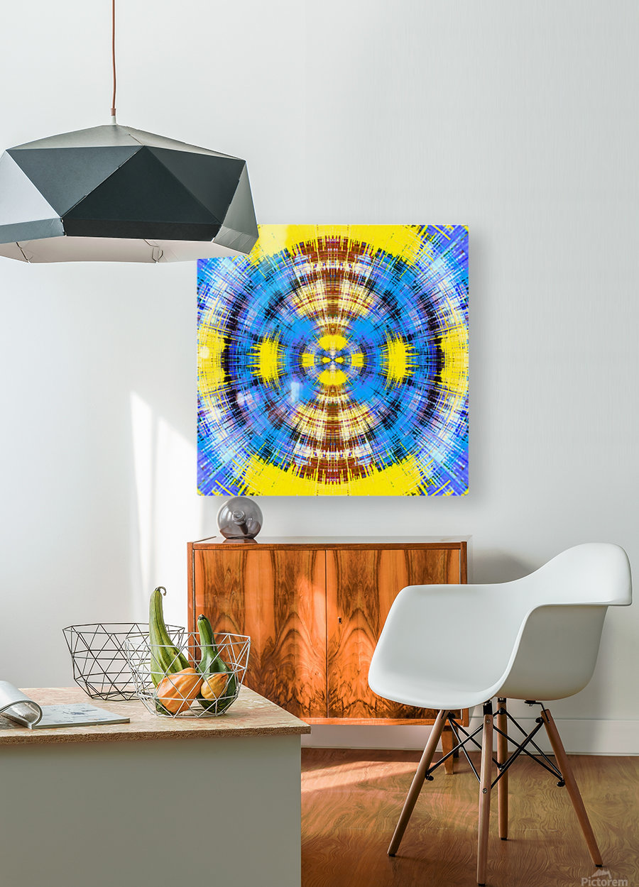 geometric blue yellow and brown circle plaid pattern abstract background  HD Metal print with Floating Frame on Back