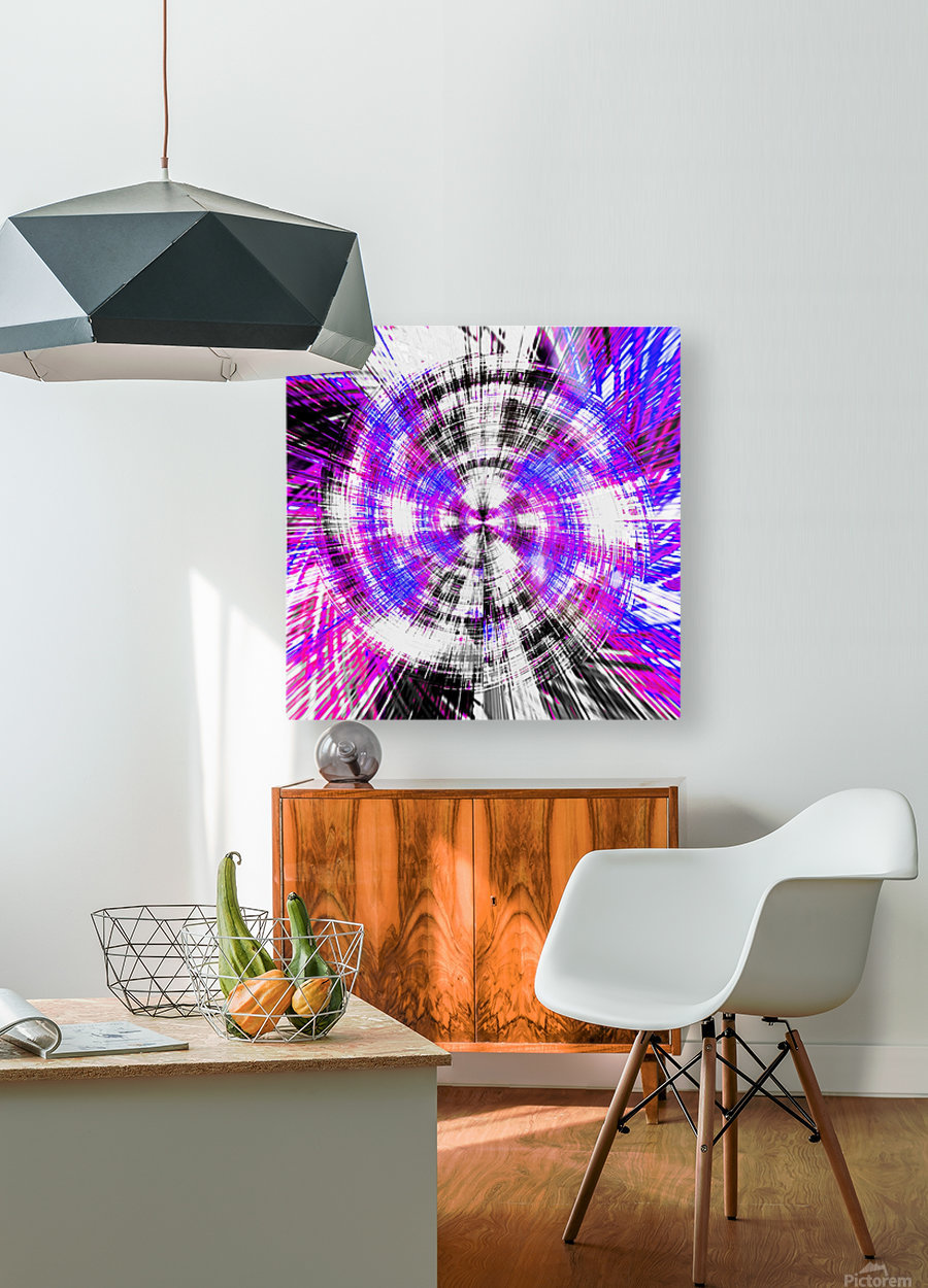 geometric pink blue purple and black circle plaid pattern with white background  HD Metal print with Floating Frame on Back