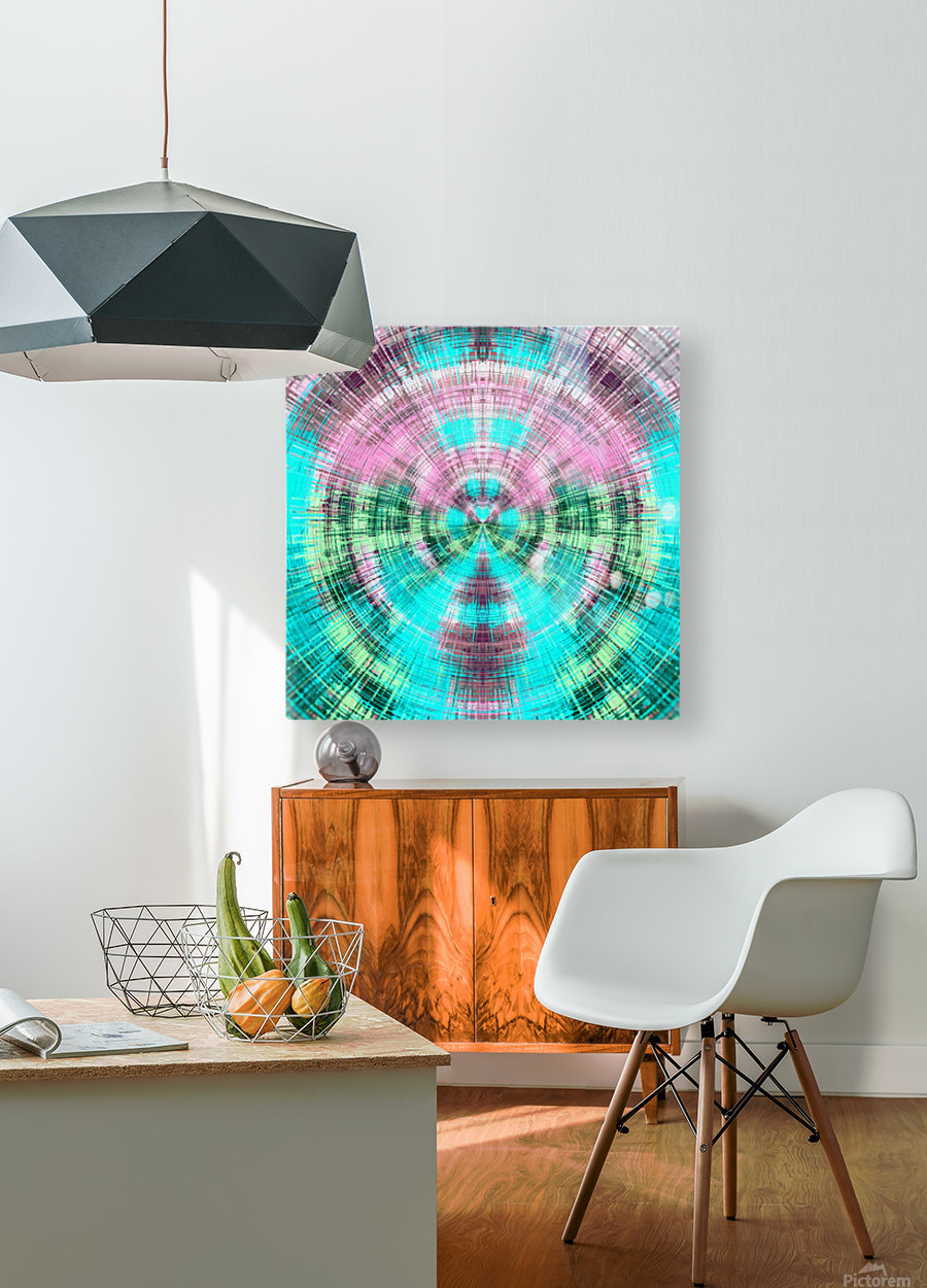 geometric pink blue and green circle plaid pattern abstract background  HD Metal print with Floating Frame on Back
